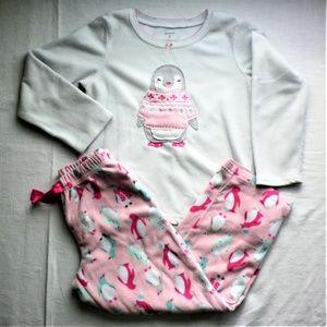 Girls warm soft Penguin print PJ Set